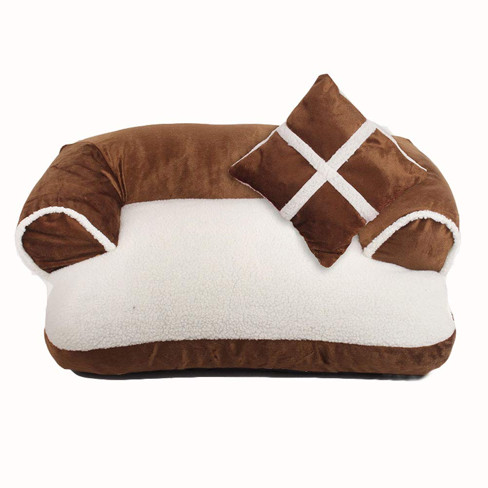 BROWN M BROWN M GCHOME dog bed Cat Bed,Non-slip,Washable Dog Bed Cat Nest,Waterproof Breathable Removable Plush Warm Cushion Indoor Small Pet Nest (color   BROWN, Size   M)