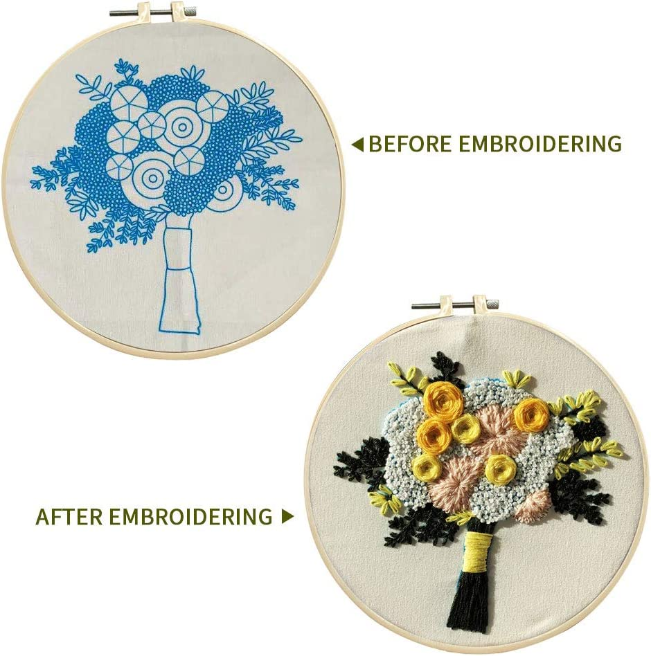 Flower pattern3 SUNTQ Embroidery Kit for Beginners Adults Cross Stitch Kit Hand Embroidery Starter Kit with Patterned Embroidery Cloth Hoop Thread Floss Craft Project