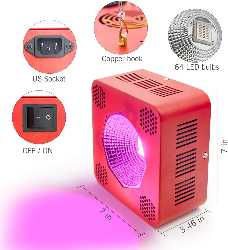 Gerylove 640W COB Grow Light Full Spectrum LED Plant Lamp with ON Off Switch,Heat Dissipation Without Noise Plant Grow Lamp for Indoor Plants Veg and Flower Red