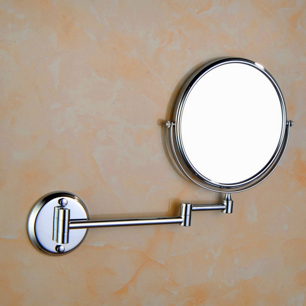 AGAOLIGUO Hotel bathroom Wall Mount Vanity Mirror Creative Double Sided 360 Degree Rotating Folding Makeup Mirror Adjustment 1x/3x magnification,silver_6inch