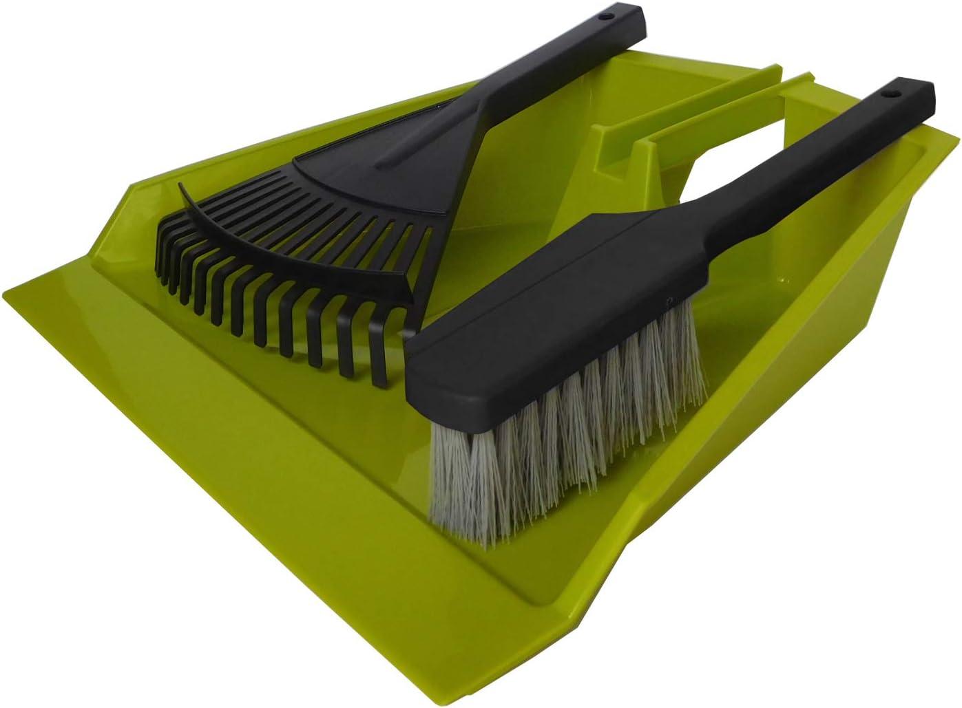 UPP Juego de pala y cepillo Jumbo I Juego de escobilla, rastrillo y recogedor de mano grande I Set de limpieza para hogar, jardín y taller I Escoba de mano, rastrillo y