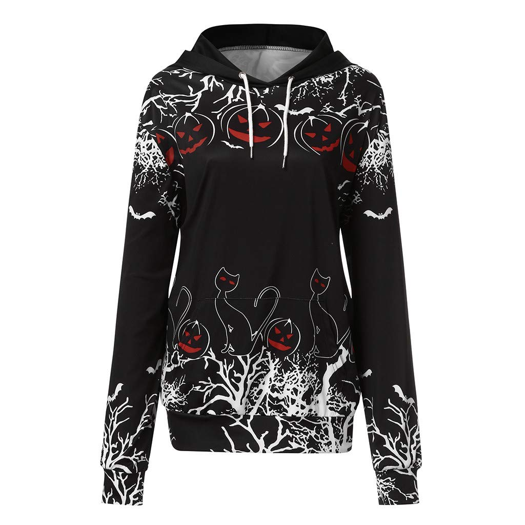 Eoeth Women Halloween Bat Print Shirts Casual Patchwork Drawstring Hooded Sweatshirt Top Blouse Pullover with Pocket Black by Eoeth