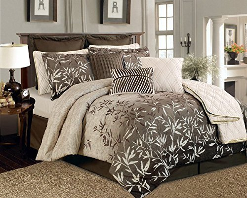 12 Pieces Brown Beige Bamboo Leaves Tropical Comforter Set King Size Bedding