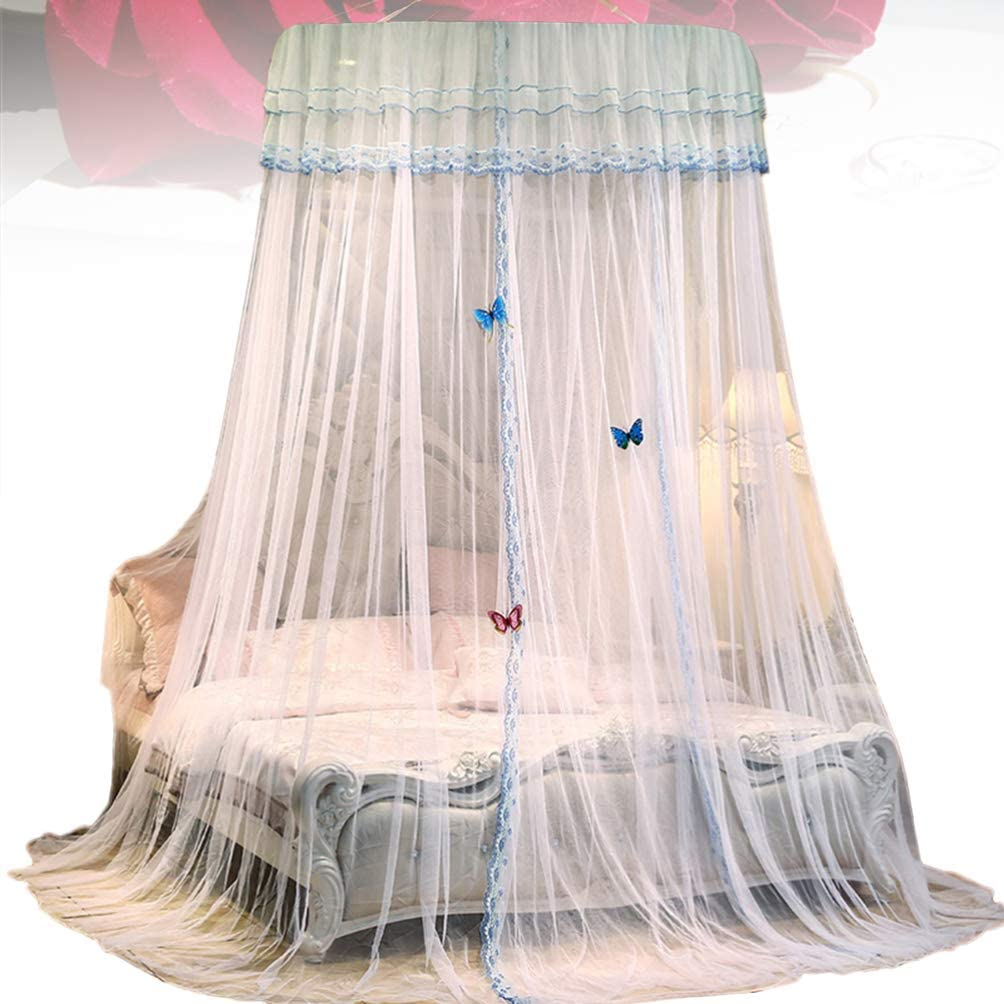 Garneck Round Lace Bed Canopy Mosquito Net Curtains Princess Dome Netting Insect Protection Hanging Canopy Girl Play Tent Sleeping Room Decor Light Pink