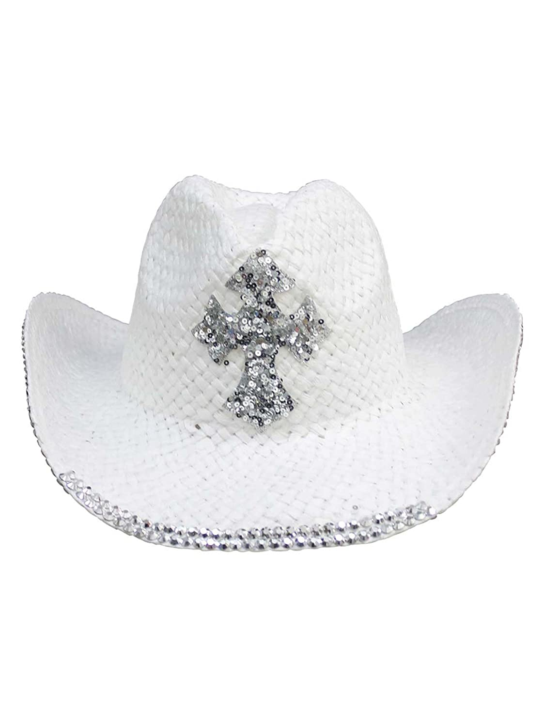 Straw Cowboy Hat Sequin Cross Luxury Divas H03976