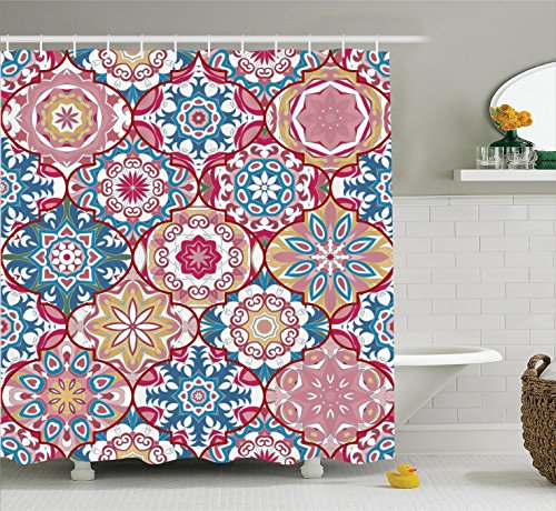 Ambesonne Moroccan Decor Collection, Ethnic Colorful Bohemian Pattern in Pastel Colors with Big Abstract Flowers Ornate Art, Polyester Fabric Bathroom Shower Curtain Set with Hooks, Teal Red (Christmas Teal Red And)