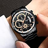 Mens Watches Luxury Brand Business Watch Stainless Steel Sport Waterproof Wristwatch Male Clock Black
