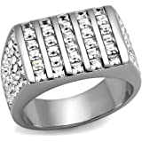 YourJewelleryBox TK2219PB MENS SIGNET RING STAINLESS STEEL SIMULATED DIAMOND 30 SQUARE PRINCESS