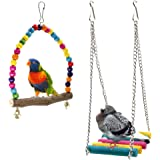 Bird Swings, Rusee Wooden Budgie Toys Pet Bird Cage Hammock Swing Hanging Toy for Parakeets Cockatiels, Conures, Macaws, Parrots, Love Birds, Finches (2 Pack)