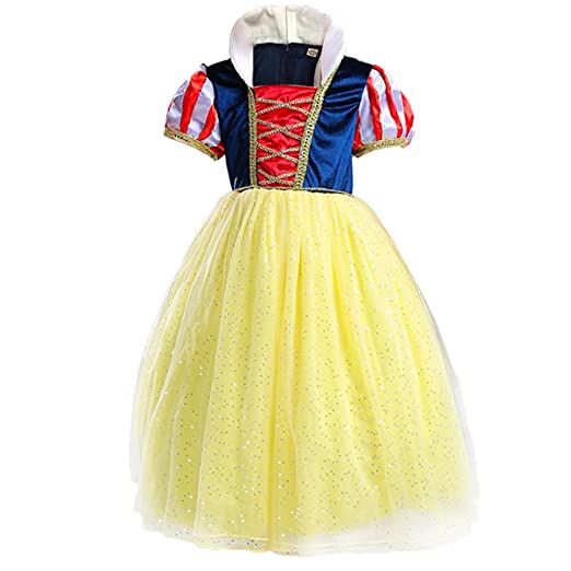 61a1fe1f2a04 Yaphets Mall Girls' Snow White Princess Costume Fancy Dresses Up Halloween  Party With Tiara,