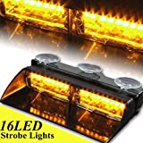 AMBOTHER 16 LED High Intensity LED Law Enforcement Emergency Hazard Police Warning Strobe Flash Flashlight Lights 18 Modes for Interior Roof / Dash / Windshield with Suction Cups (Amber)