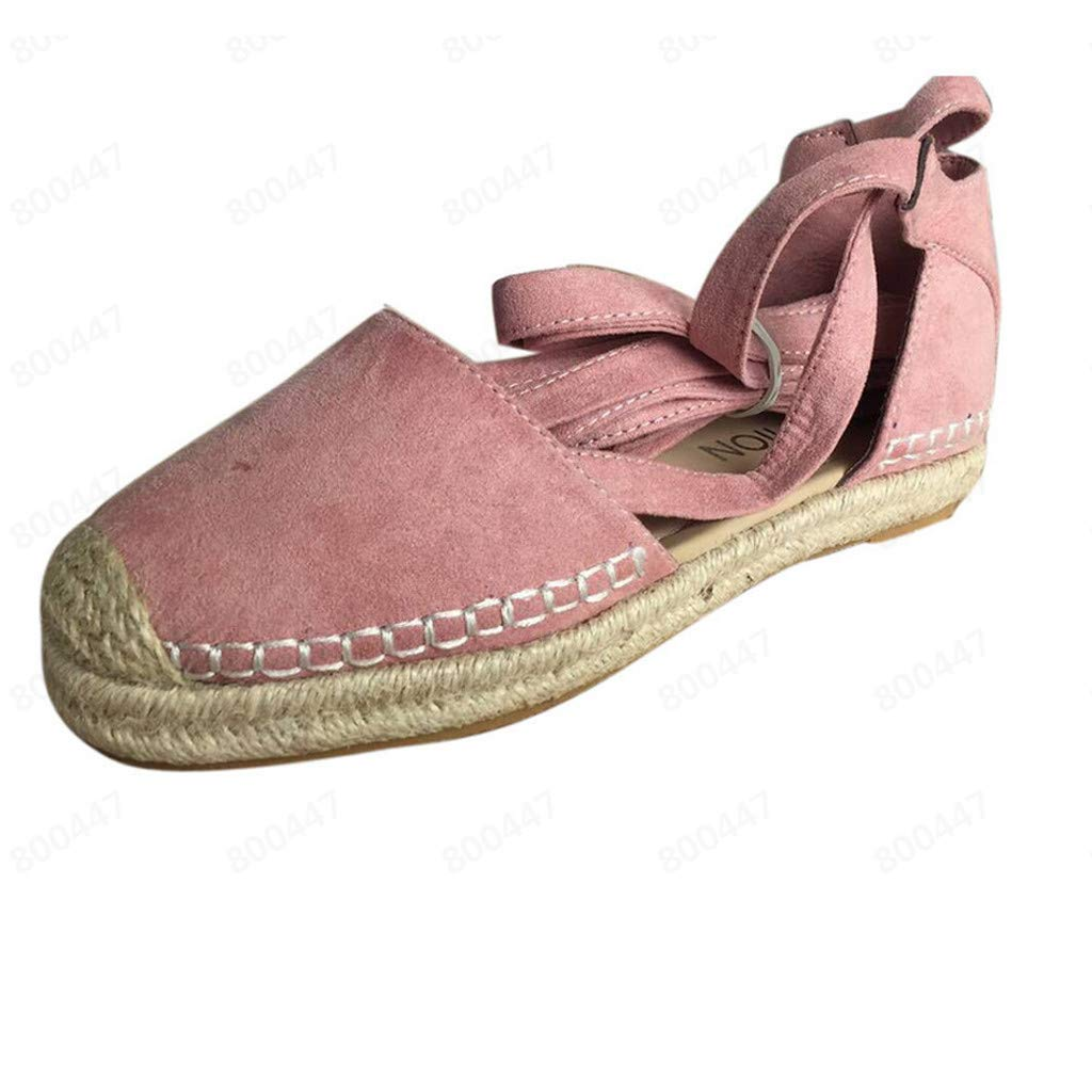 Summer Fashion Retro Chunky Flat Holiday Sandals Strap Roman Shoes 2019 New Womens Lace-Up Espadrilles