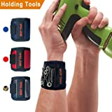 Magnetic Wristband With 10 Strong Magnets for Holding Screws, Nails, Drill Bits, Washers, Bolts, Small Tools and Tool Gift Item For DIY Handyman, Men, Women, Father/Dad, Husband, Boyfriend (Black)