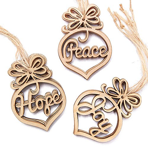 Peace Laser - Laser Cut Wooden Peace, Hope, and Joy Ornaments for Tree Trim and Crafting - 36 Ornaments