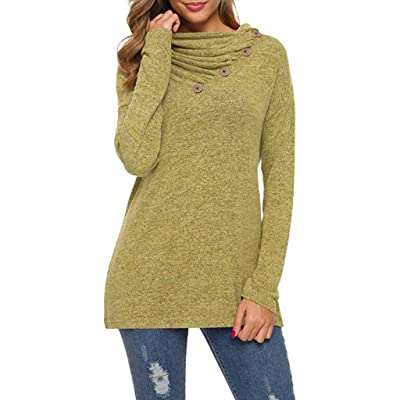 Sttech1 Womens Long Sleeves Fold Collar Asymmetric Button Cable Solid Pullover Loose Oversized Baggy Tops: Clothing