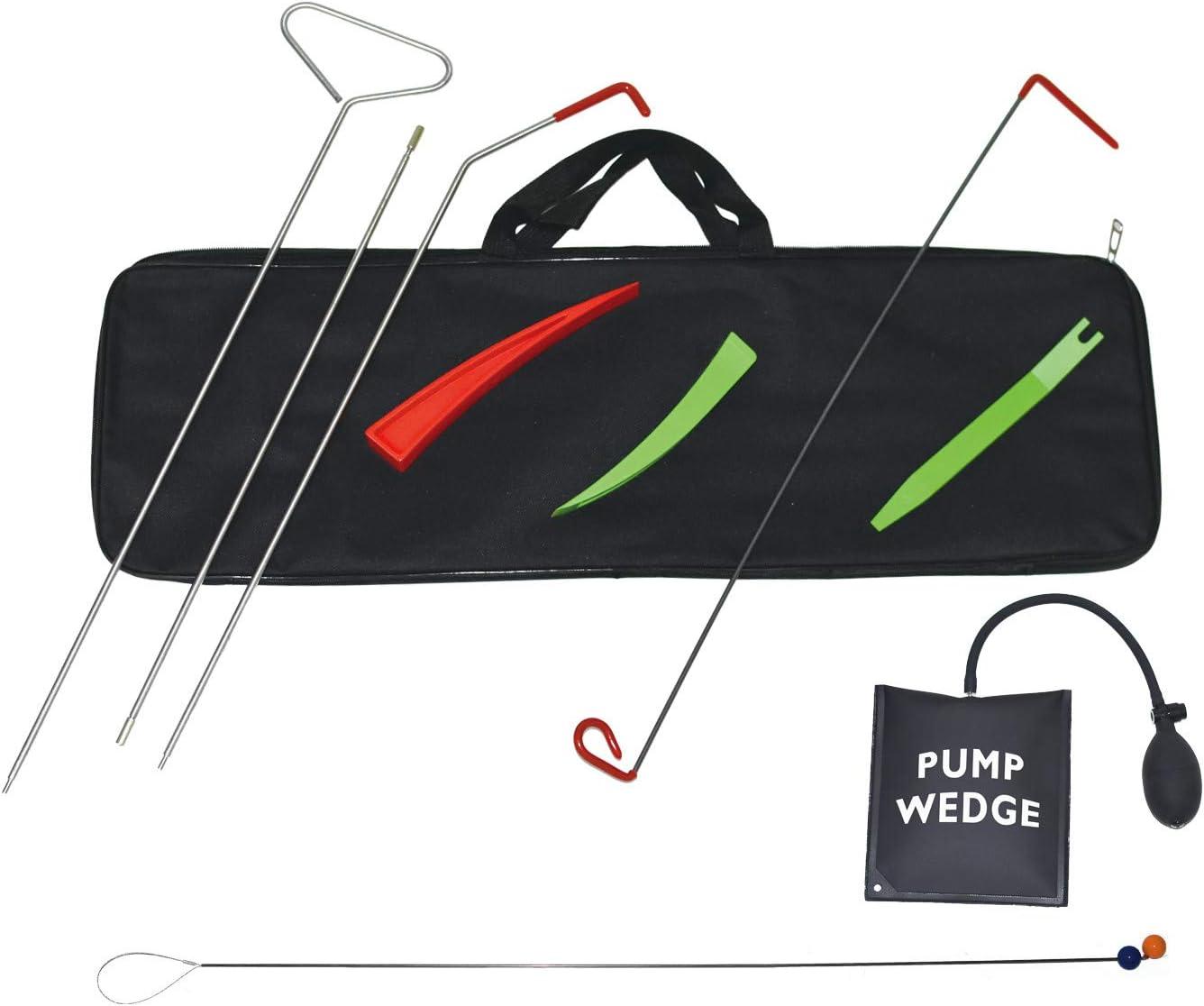 Professional Tools Set for Cars and Trucks Tool Bag Non Marring Wedge Air Pump Wedge Lasso Grabber E-HEELP Emergency Car Repair Tool Kit with Long Reach Grabber