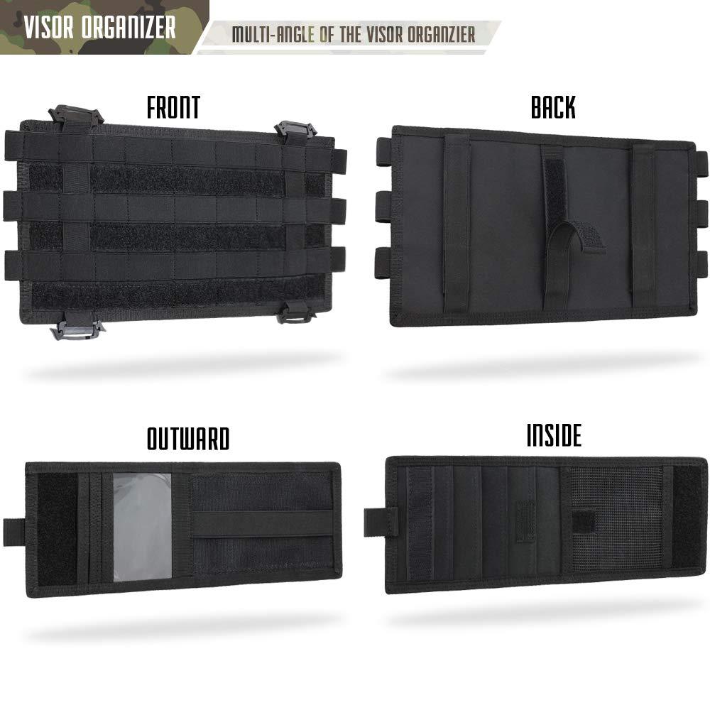 Tactical Car Sun Visor Cover Molle Webbing Compatible Elastic Slots Vehicle Visor Storage Holder Pouch with 3 Elastic Strap Compatible F150 F550 Tundra Sibaru WYNEX Molle Visor Panel Organizer