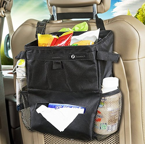 Price comparison product image Zone Tech 2-in-1 Classic Black Car Organizer- Durable Fully Leak Proof Vehicle Litter Bag and Practical Car Tissue Dispenser/Baby Wipe Holder