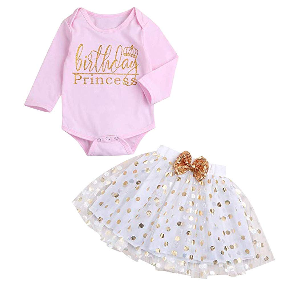 Jimmackey 2PC Neonata Bambine Pagliaccetto Lettera Stampato Tutine Body Cime + Bolla Dots Tulle Gonna Vestiti