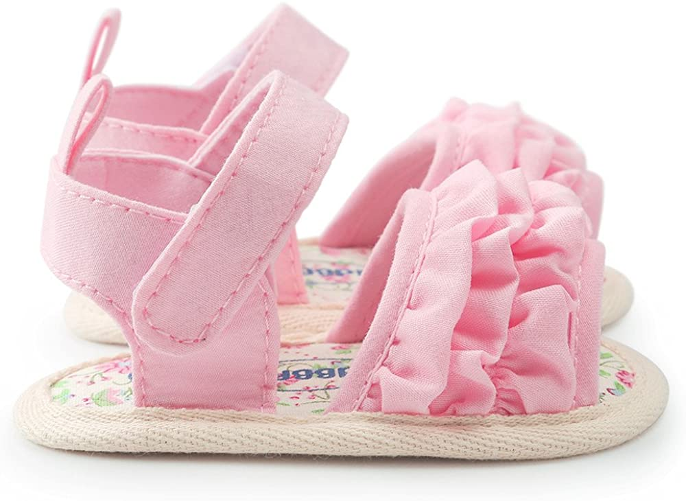 Newborn Sandals Jifutan Lovely Baby Cute Flower Soft Sole Toddler Anti-slip Velcro Casual Shoes