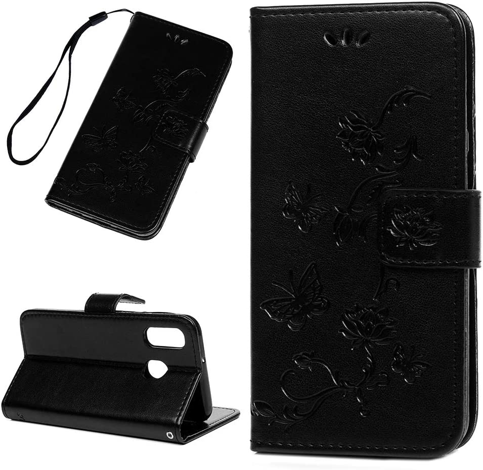 Black Firemoon Compatible with Samsung Galaxy A40 PU Leather Phone Case Embossed Lotus and Butterfly Pattern Wallet Case Kickstand Cover Protective Covers for Galaxy A40
