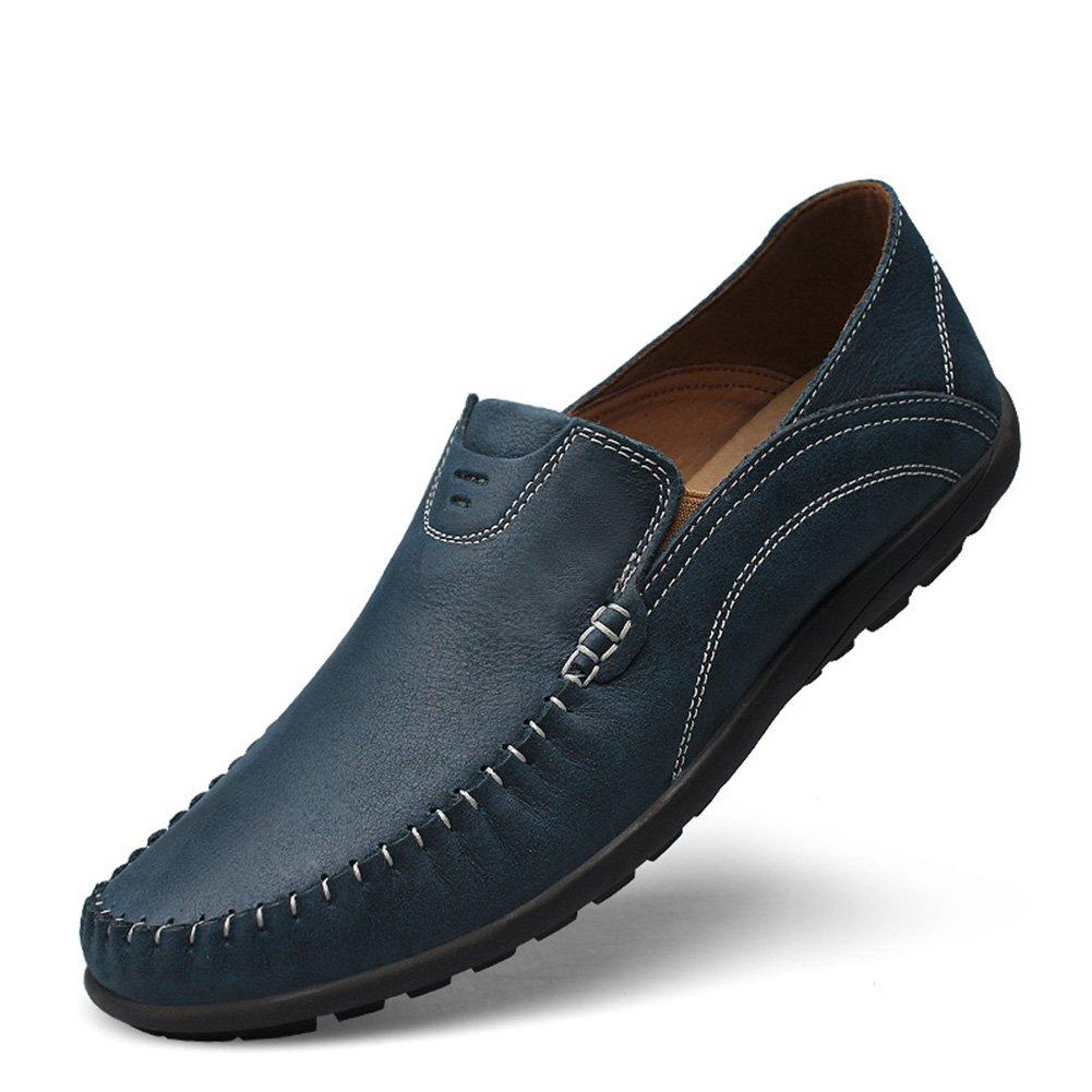 Shenn Hombre Conducción Coche Ponerse Comodidad Cuero Mocasines Zapatos 40.5 EU|azul