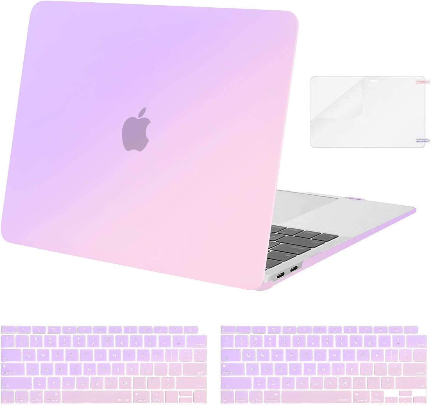MOSISO MacBook Air 13 inch Case 2020 2019 2018 Release A2179 A1932 with Retina Display, Plastic Pattern Hard Shell&Keyboard Cover&Screen Protector Only Compatible with MacBook Air 13, Gradient Purple