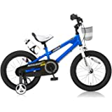 ROYALBABY(ロイヤルベイビー) 子ども用自転車 16インチ RB-Freestyle BMXスタイル フルカバーチェーンケース リアバンドブレーキ 取っ手付きサドル ブルー