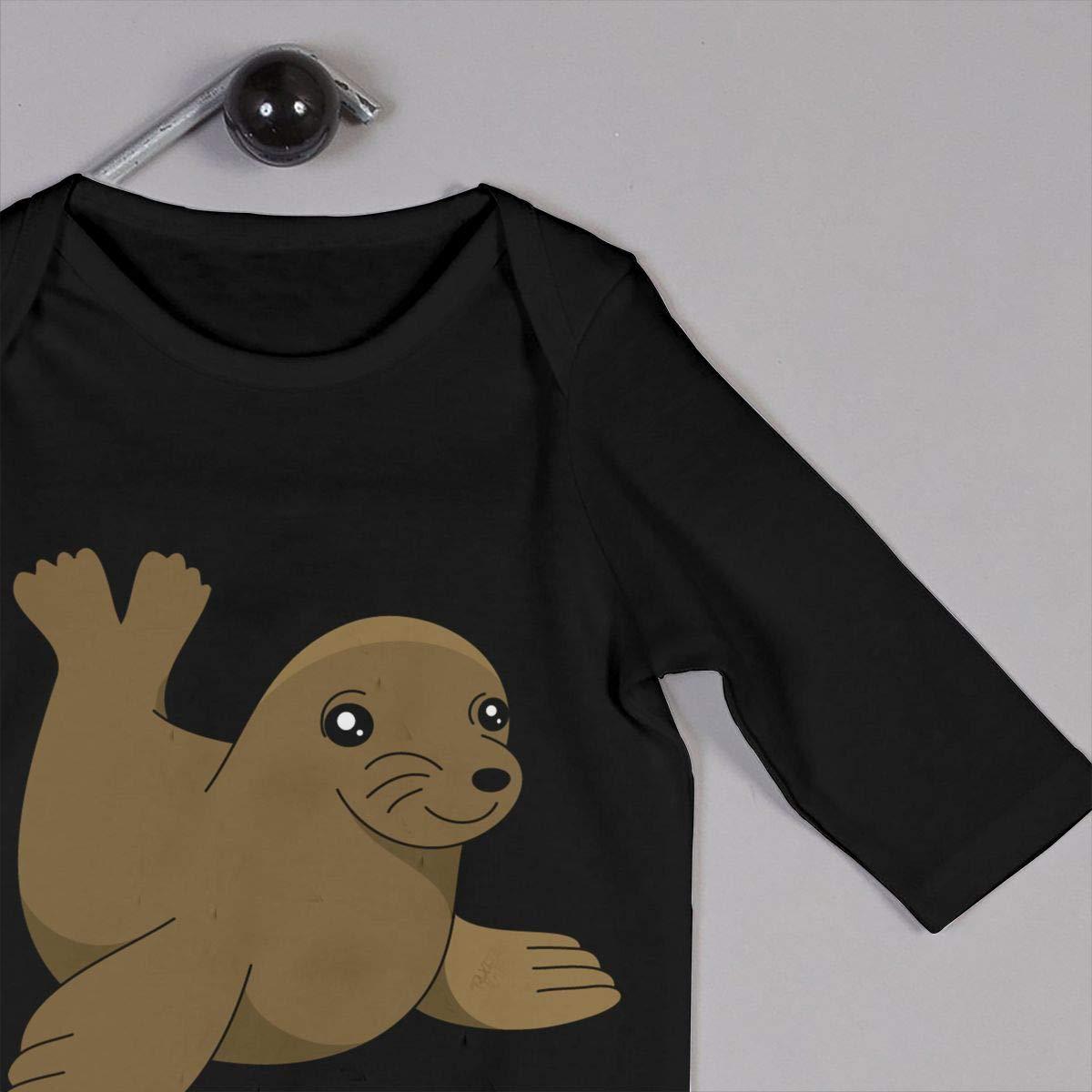 Mri-le1 Baby Girl Jumpsuit Cute Sea Lion Clipart Infant Long Sleeve Romper Jumpsuit
