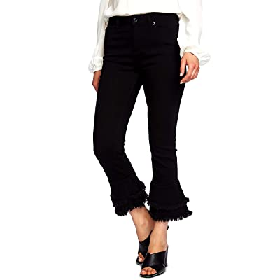 1.STATE Ruffle-Hem Cropped Skinny Jeans, Black Super Wash, 29 at Amazon Women's Jeans store