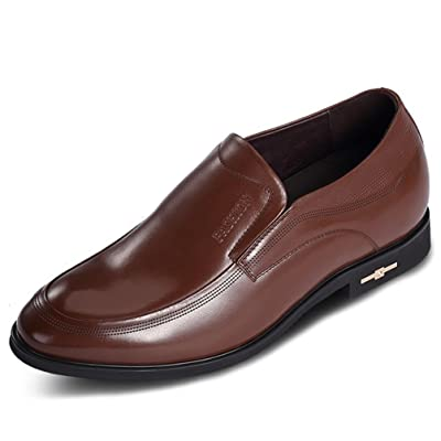 2.75 Inches Taller Men's Calfskin Leather Business Slip On Loafers Shoes