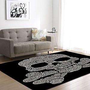KFEKDT Party Decoration Carpet 3D Creative Skull Carpet Boy Room Game Pad Flannel Carpet Living Room Home Decoration No-3 175x121cm