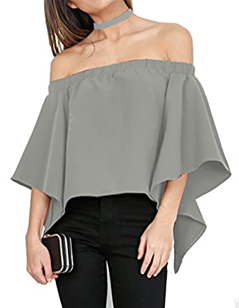 Relipop Women's Off Shoulder Tops Fashion Shirt Casual Strapless Blouses  (Small, Grey)