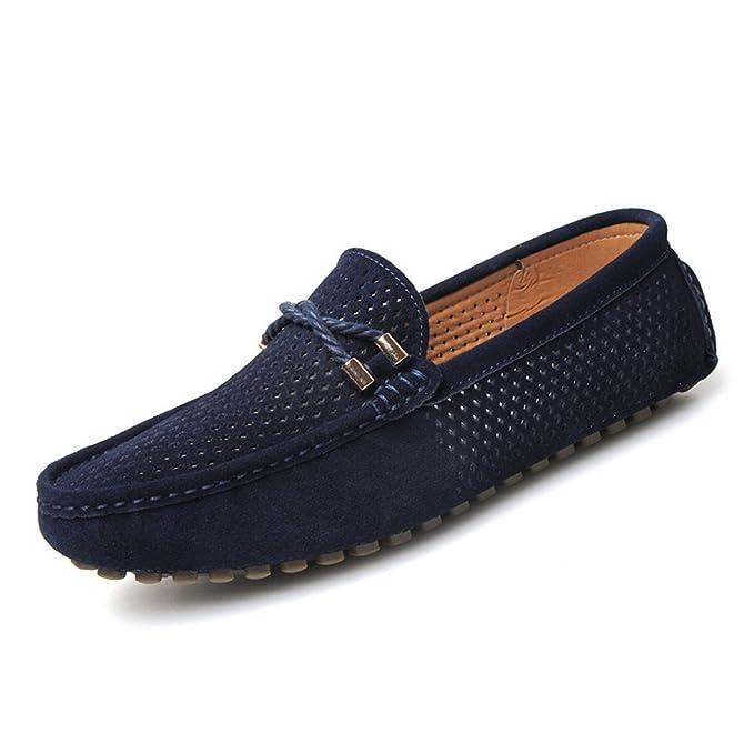 Bridfa Zapatos de verano para hombres Casual respirable Mens Penny mocasines Slip de cuero de ante en barcos Zapatos de hombre: Amazon.es: Ropa y accesorios