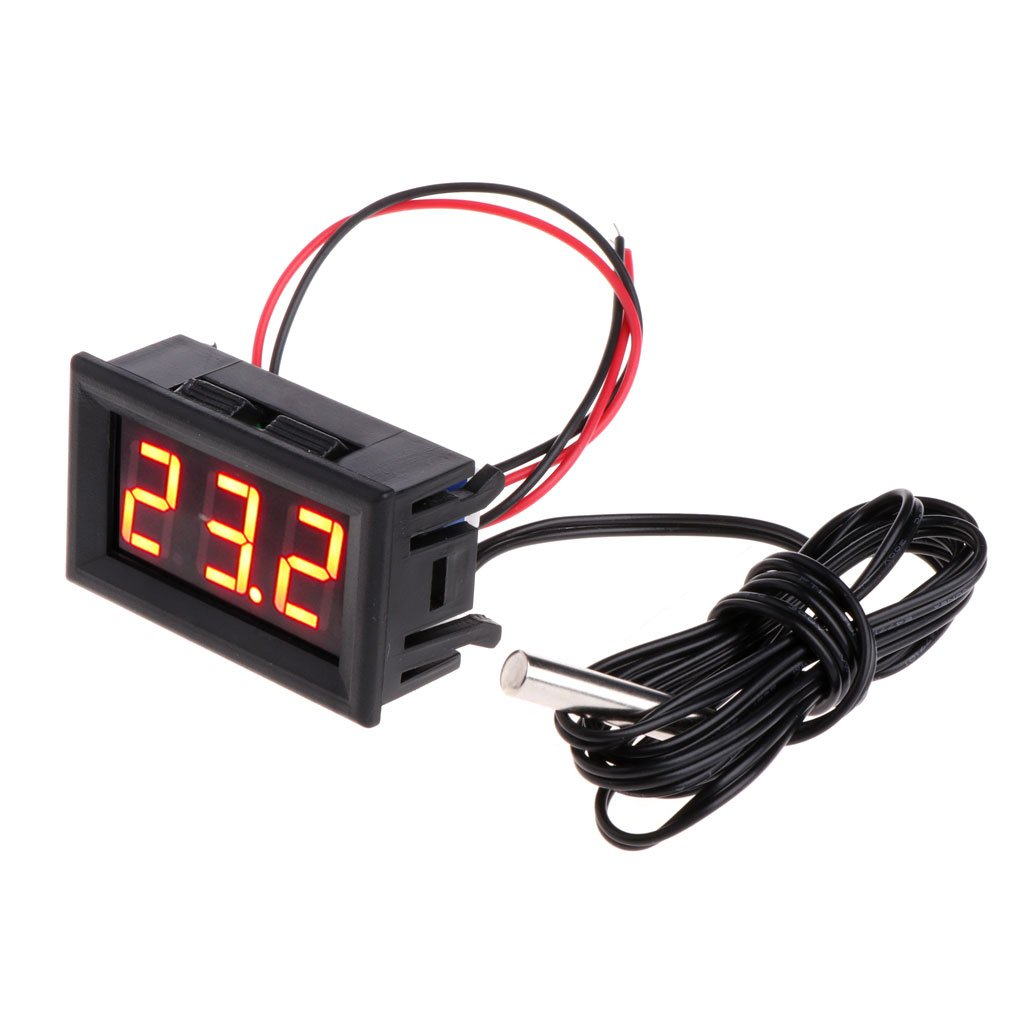Oranmay Mini Car LCD 12v Digital LED Thermometer Temperature Monitor Panel Meter -50~110 °c (Blue)