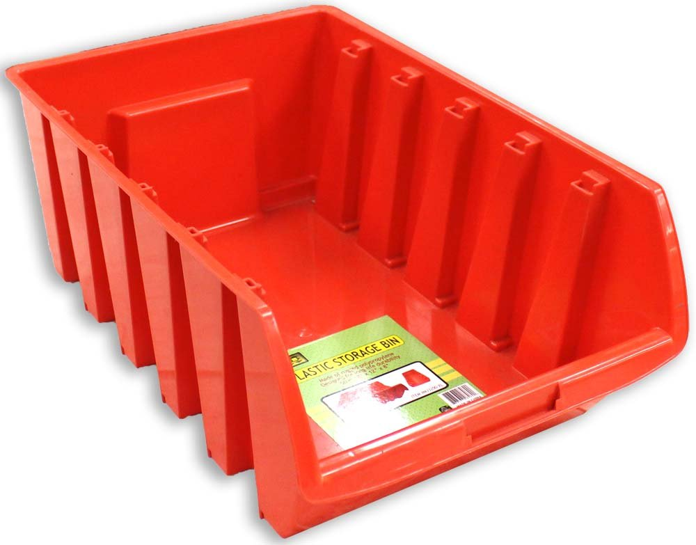18'' x 12'' x 8'' Stackable Red Plastic Storage Bin Made Of Polypropylene