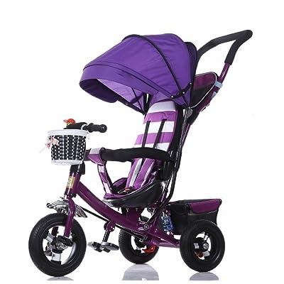 QLL-Des vélos pour enfants Sport en plein air Tricycle bébé chariot vélo enfant jouet voiture titane roue / mousse roue vélo 3 roues, violet pliable (garçon / fille, 1-3-5 ans) Sans d