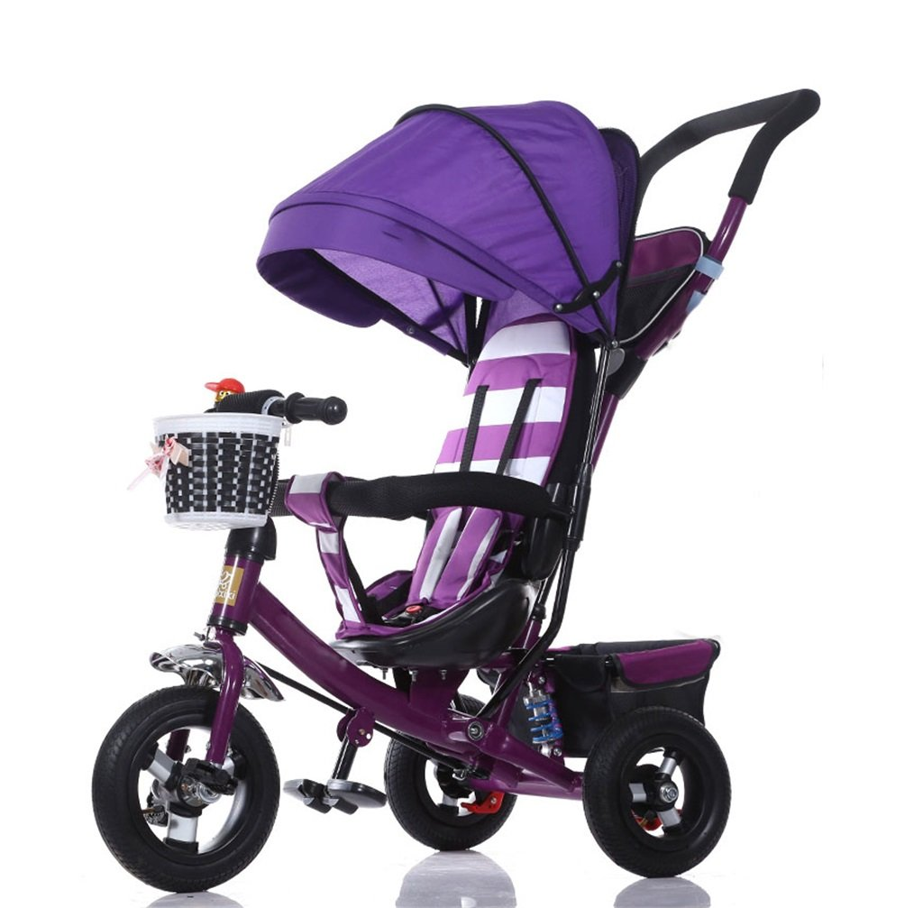KANGR-子ども用自転車 三輪車のベビーキャリッジバイク子供のおもちゃの車のチタンの車輪/泡ホイールの自転車3つの車輪、紫の折り畳み式(ボーイ/ガール、1-3-5歳) ( 色 : A type ) B07BTTR67V A type A type