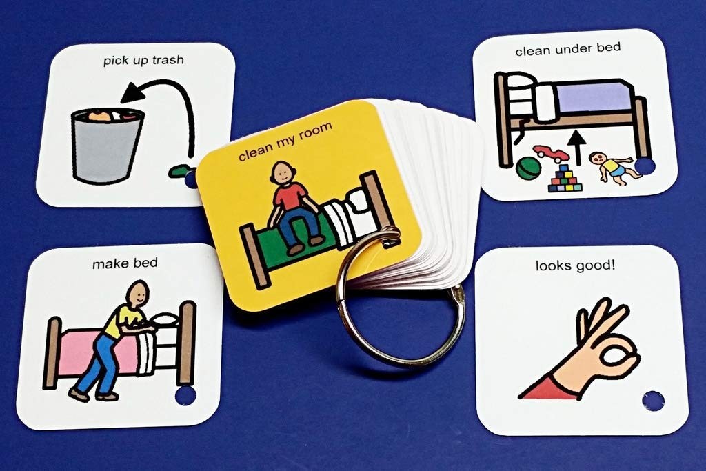 ABA visual aid exercise Visual Aid Learning Activity Clean My Room Autism PCS Keyring Prompter Organizer