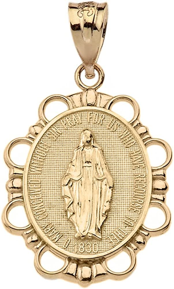 14K Yellow Gold Religious Our Lady of Grace Miracle Mary Medalia Charm Pendant