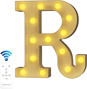 YOUZONE Newly Upgrade LED Marquee Letter Lights Alphabet Light Up Letters with Remote Control Timer Dimmable for Events Wedding Party Birthday Home Bar Decoration (R)