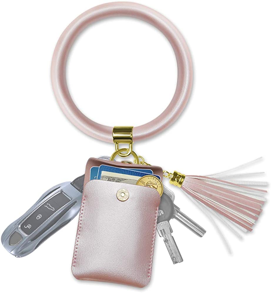 Doormoon Keychain Bracelet, Tassel Key Chain Wristlet Ring Circle Bangle