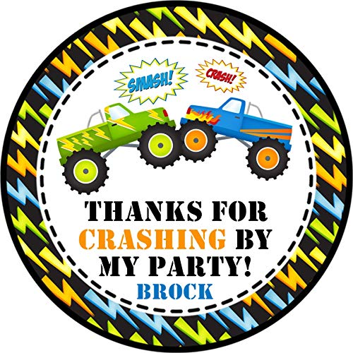 Amazon Com Monster Truck Birthday Party Favor Tags Or Label