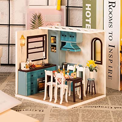 Ochine Creative DIY Assembly Cabin LED Light Warm Modern Style Assembled Model Mini Doll House Romantic Art Gift: Arts, Crafts & Sewing