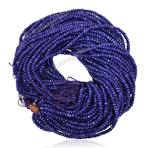 Ratnagarbha Lapis Lazuli Color Quartz Faceted Rondelle Loose Gemstone Beads, 5 mm 5 strand denim blue color, jewelry making, wholesale price, prepared exclusively (Gemstone Quartz Globe)
