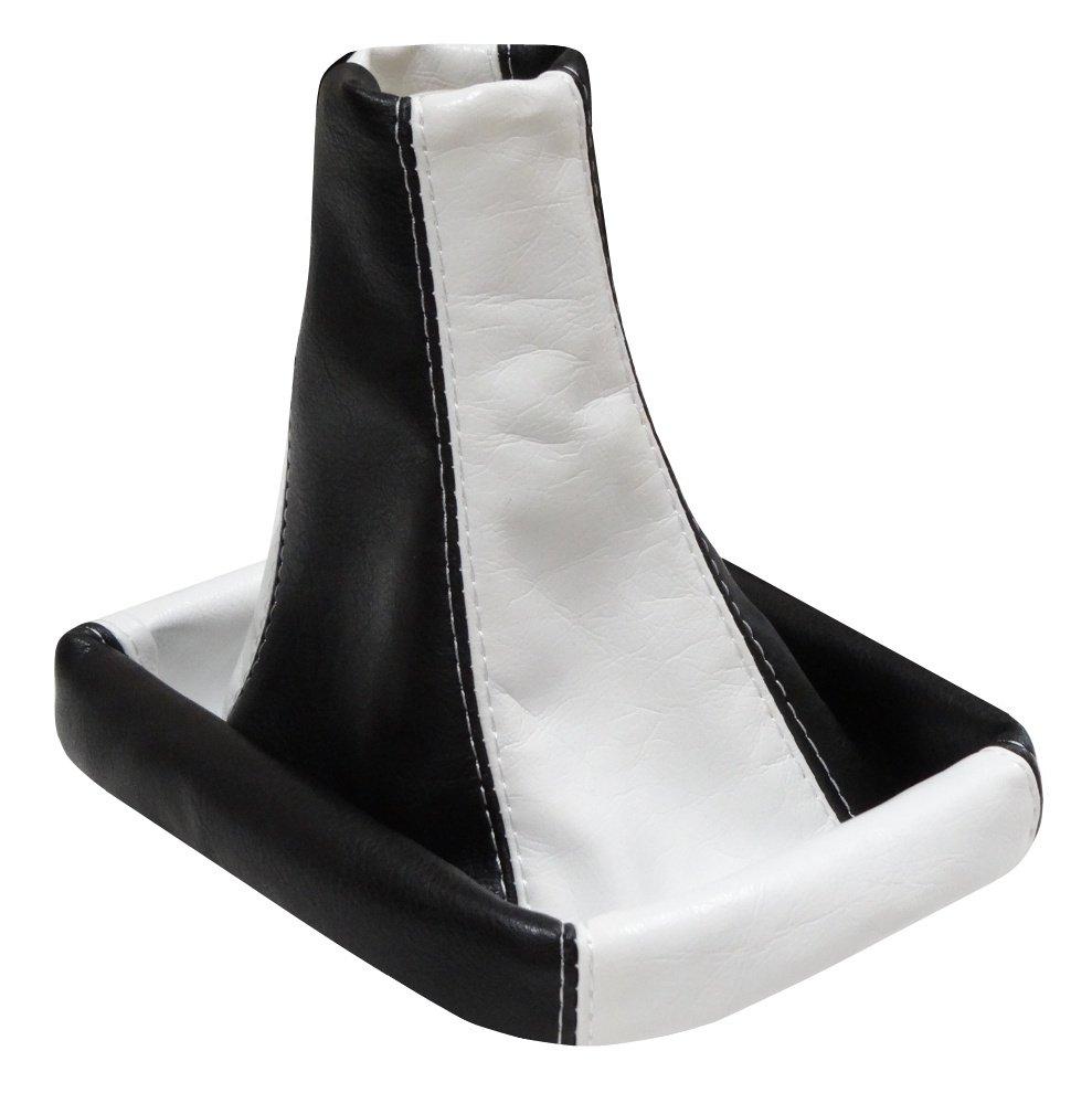Aerzetix - Cuffia leva cambio fatto di pelle sintetica bianco/nero .