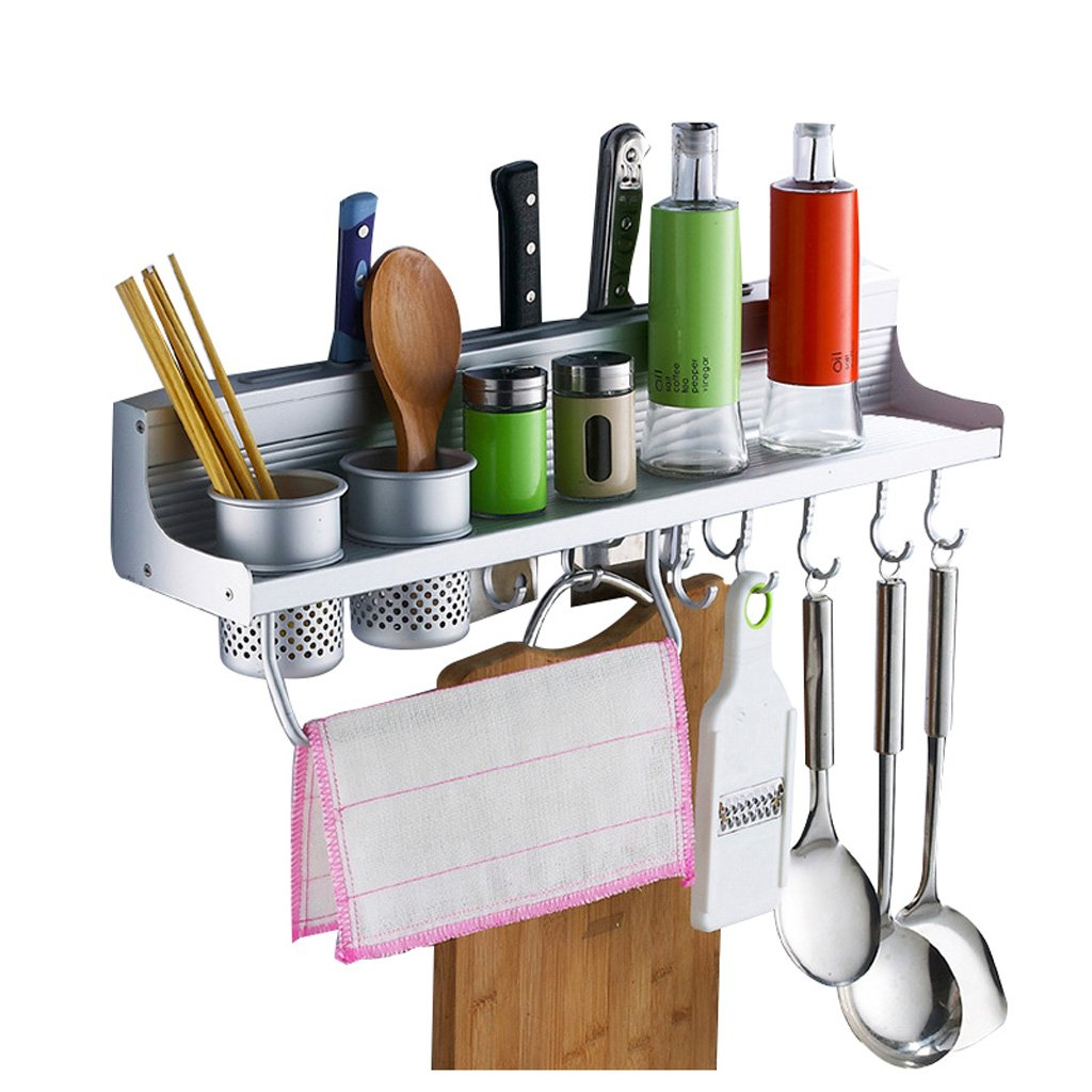 MOOLO Storage Racks Multifunctional Aluminum Wall Hanging Kitchen Rack with Shelves, Spice Rack Bottle Racks Various Hanger Hooks Pot Organizers for Kitchen Organization