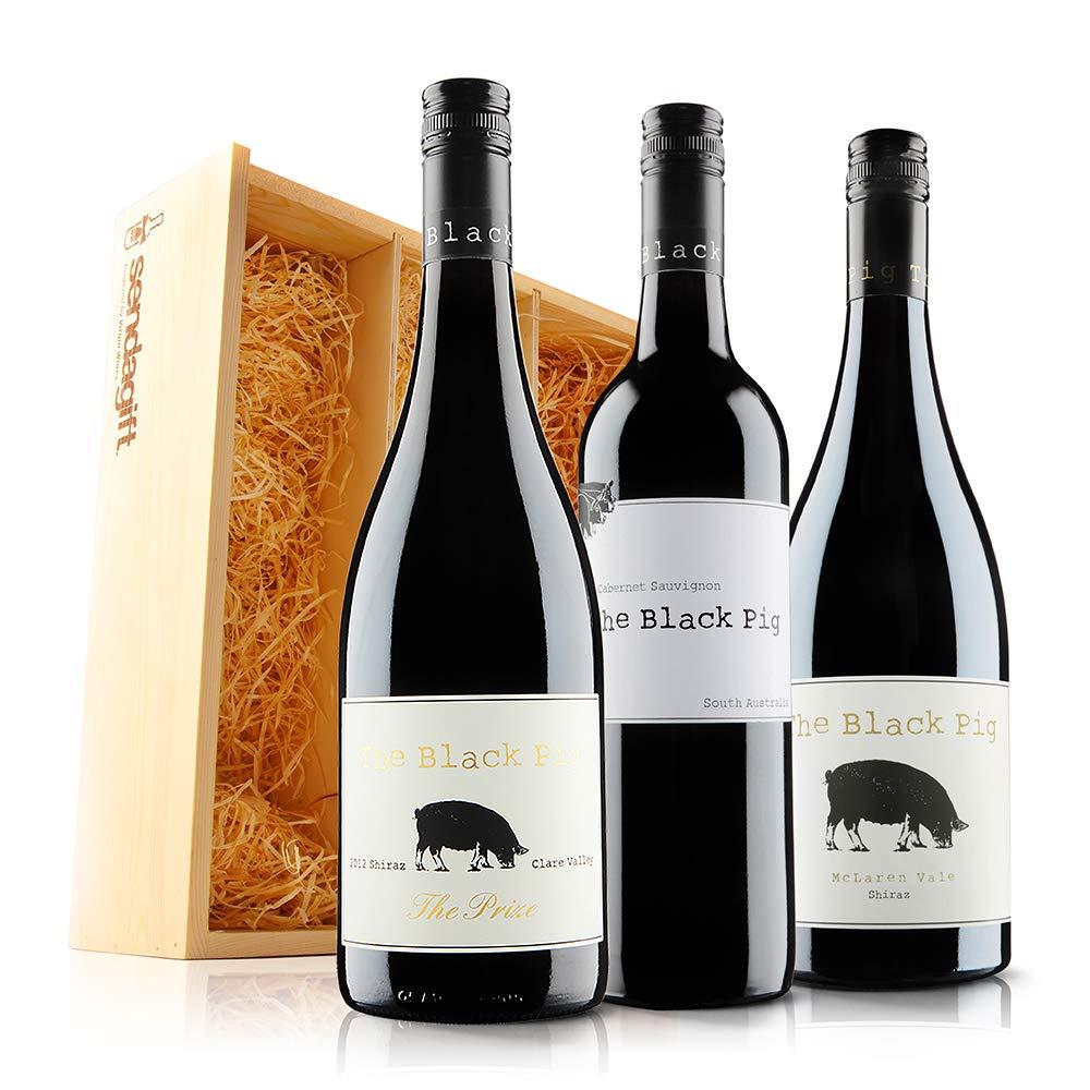 Sendagift By Virgin Wines The Black Pig Luxury Australian Cellar Selection In Wooden Gift Box Case Of 3
