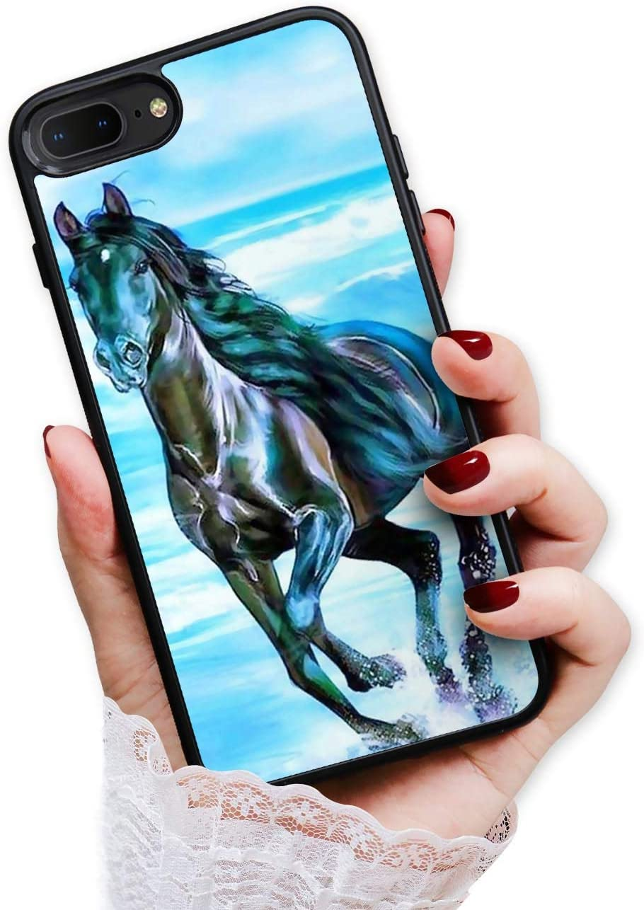 for iPhone 6 Plus, iPhone 6S Plus, Art Design Soft Back Case Phone Cover, HOT12159 Abstract Blue Horse 12159