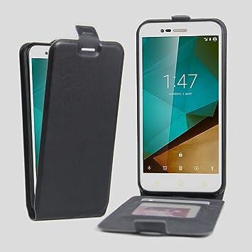Nadakin Vodafone Smart Prime 7 VFD600 Calidad Premium de Cuero Carcasa de Teléfono Up and Down Retro Flip Funda con sostenedor de tarjeta Soporte ...